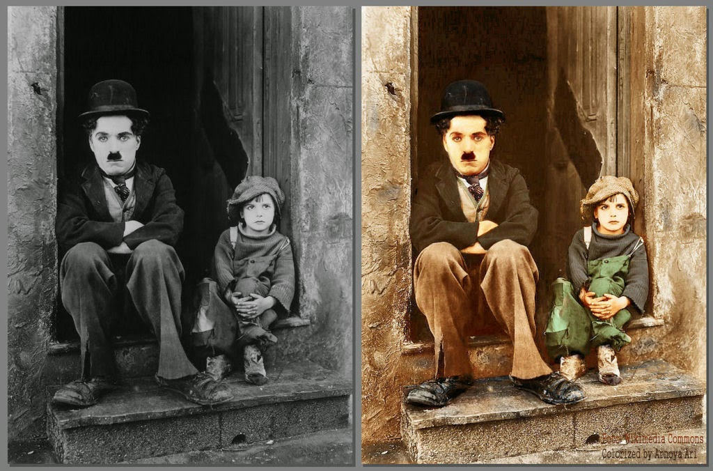 Charles Chaplin,Jackie Coogan, The Kid,  color, colorization, colorized