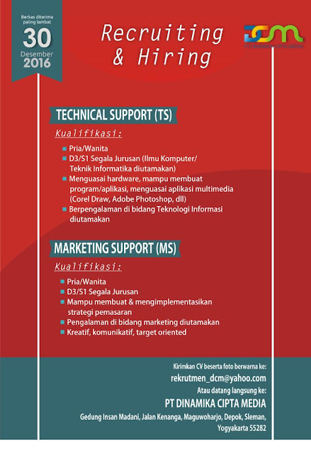 Loker Recruiting dan hiring Technical Support (TS) dan Marketing Sleman Jogjakarta 2016