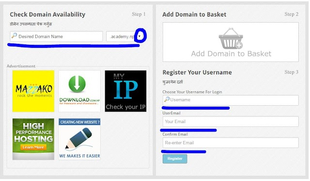 how to register free .np domain name
