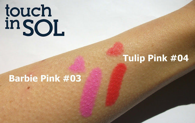 Touch in Sol One Second Vivid Lip Crayon in #4 Tulip Pink and #3 Barbie Pink, sunlight swatches by Valentina Chirico