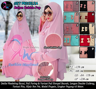 Gamis bubble pop model rempel bawah set hijab non pet pinguin