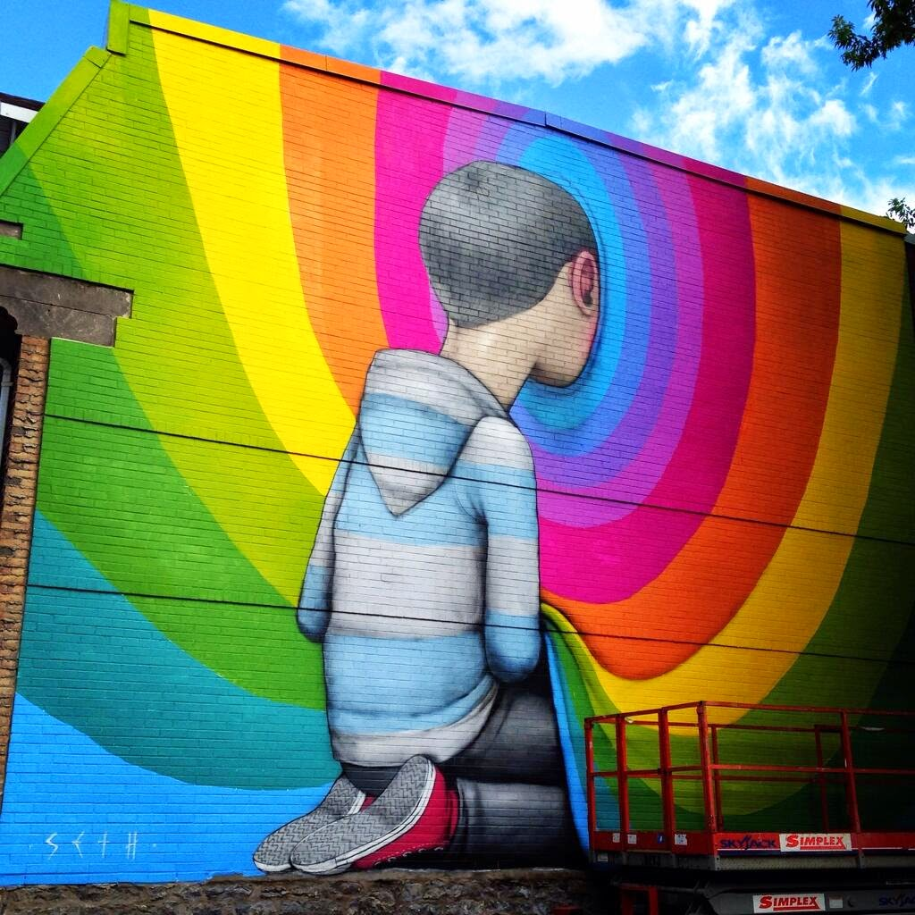 Paris-based muralist Seth was also invited in Montreal, Canada to paint for the latest edition of the Mural Street Art Festival.