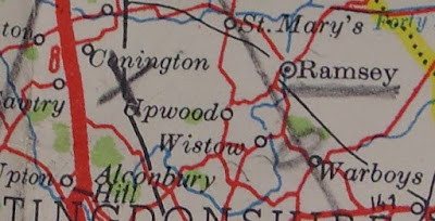 Shell Touring Map found in Josef Jakobs' possession - close-up of Ramsey area (National Archives - KV 2/27)