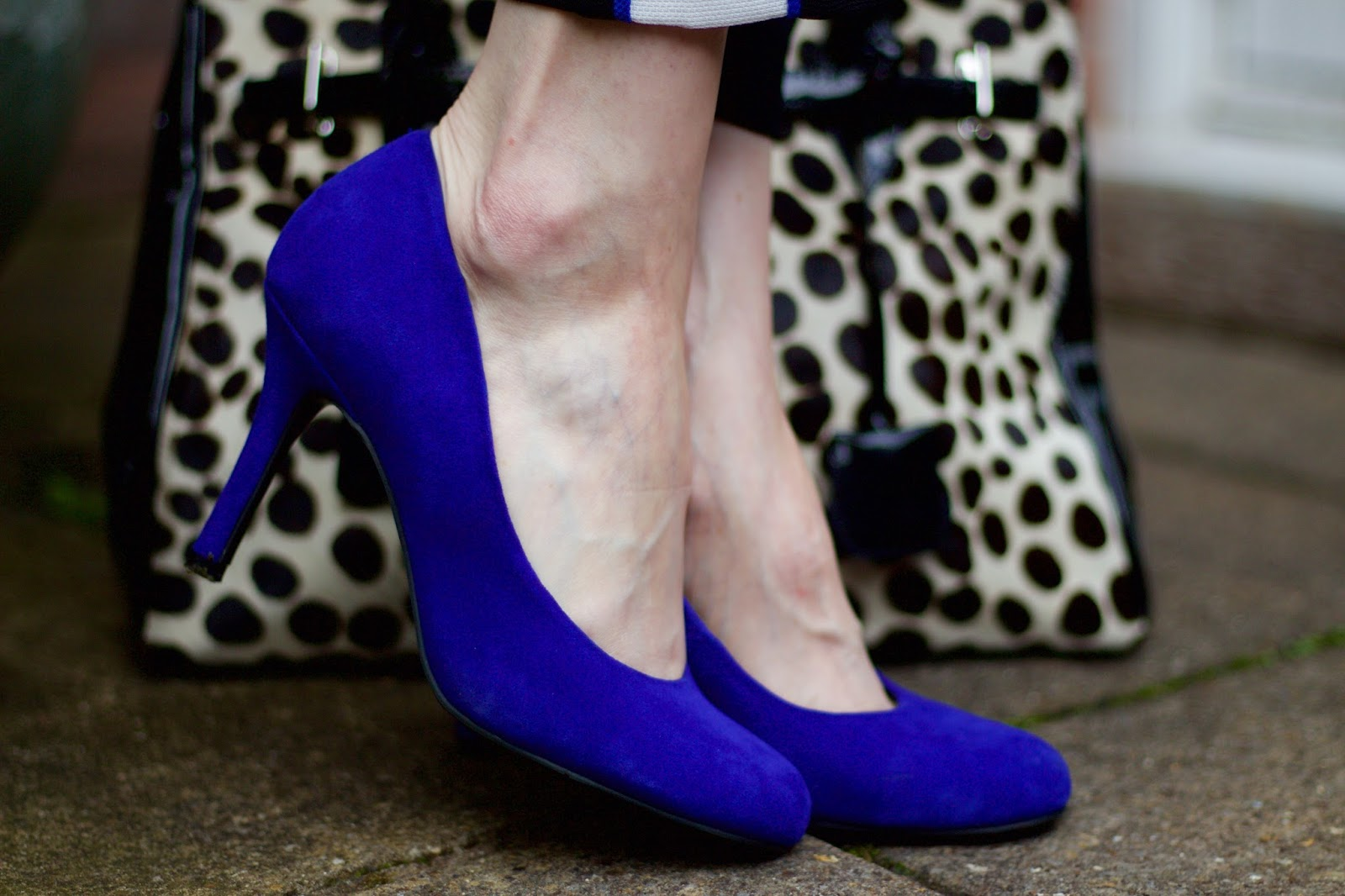 Side Stripe Trousers, Blue Shirt & Cobalt Heels   Fake Fabulous