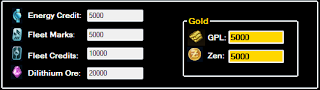 - GPL Unlimited  - Zen Unlimited  - Energy Credit Unlimited  - Fleet Marks Unlimited  - Fleet Credit Unlimited  - Dilithium Ore Unlimited
