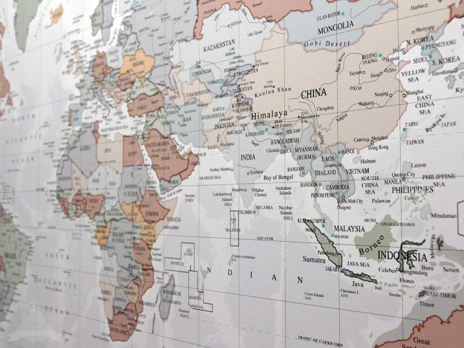 Weltkarte Nahaufnahme