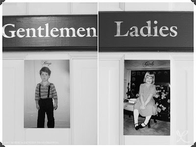 wedding restroom door decor