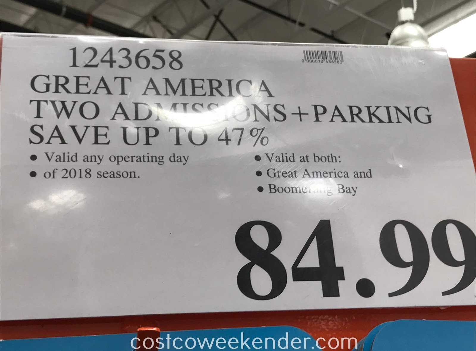 Deal for 2 Great America General Admission Tickets for only $84.99 at Costco