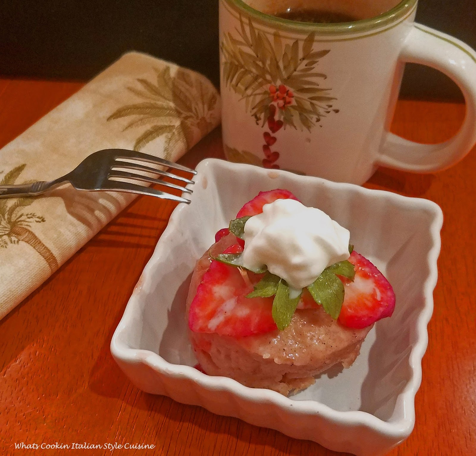 Applesauce mug cake stays moist and with strawberries on top makes it the best shortcake in minutes