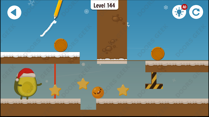 Where's My Avocado? Level 144 Solution, Cheats, Walkthrough, 3 Stars for Android, iPhone, iPad and iPod