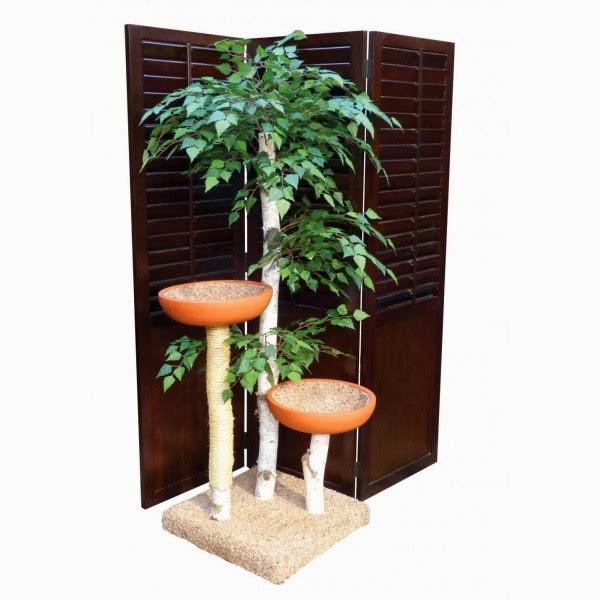 Silk Plants Direct Multi-Level Birch Cat Tree House & Post
