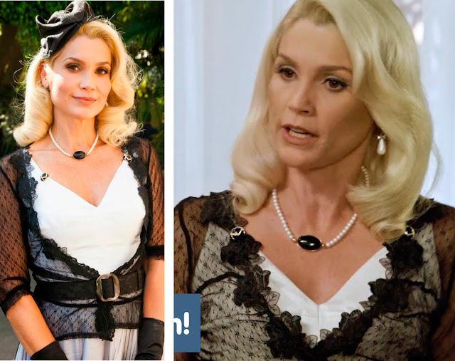 Sandra com vestido branco e bolero preto transparente
