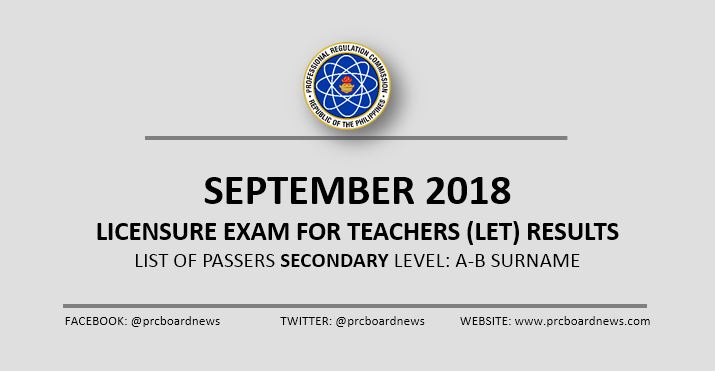 A-B Passers: September 2018 LET Result Secondary