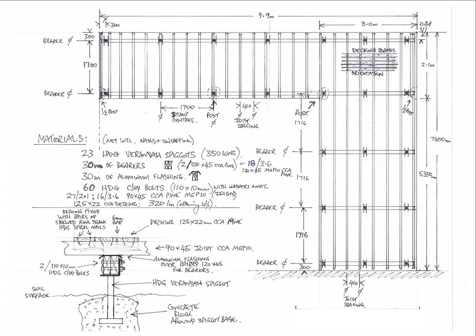 The joy of wood building a timber deck for How to read foundation blueprints
