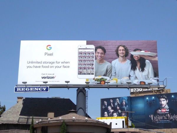 Google Pixel food face billboard