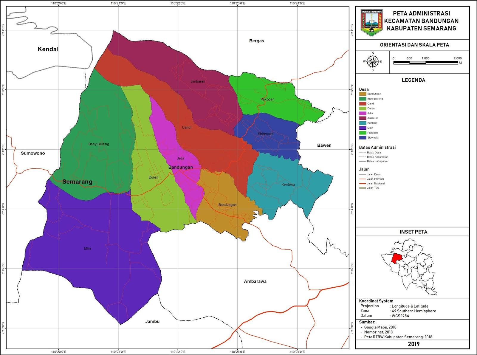 Peta Administrasi Kecamatan Bandungan, Kabupaten Semarang ...