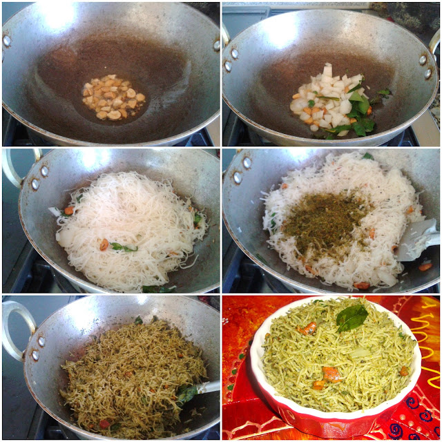 images of Karuvepillai Podi Idiyappam / Curry leaf Podi Idiyappam