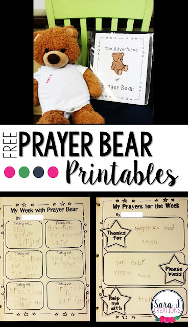 Free printables to create your own Prayer Bear to help motivate younger students to pray more at home. Makes a great home/school connection.