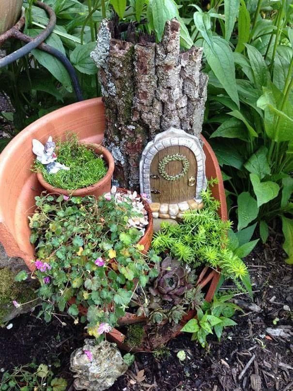 Mini Tree House from Broken Pottery