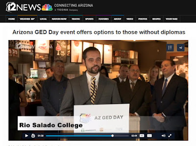 image of Greg Pereira at press conference. text: 12 News Connecting Arizona. Arizona GED Day event offers options to those without diplomas. Rio Salado College