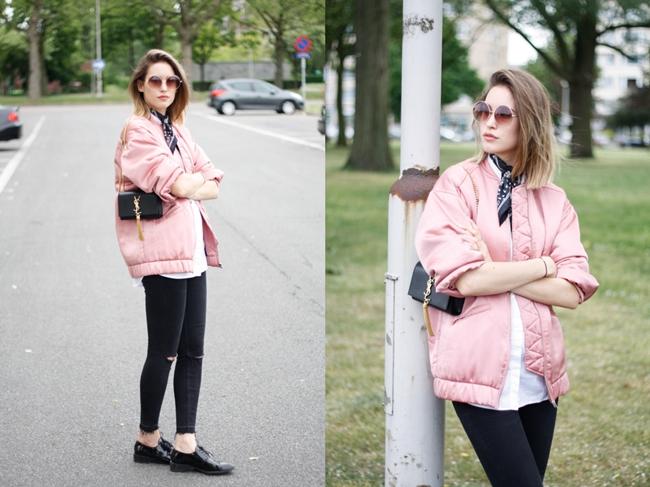 Mango 2016 Spring Pink Satin Bomber Jacket