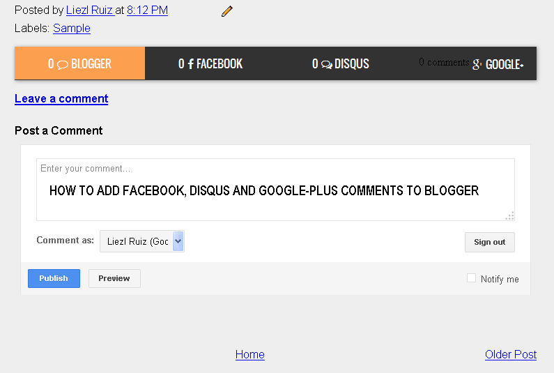 Add Facebook, Disqus and Google-plus Comments to Blogger