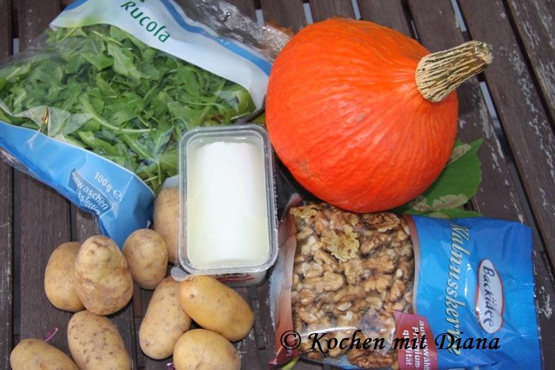 Zutaten Kartoffel-Kürbis-Pfanne mit Ziegenkäse