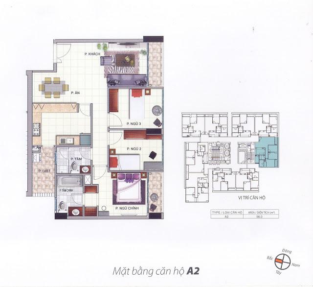 Mặt bằng thiết kế căn hộ A2 - 96m - South Building