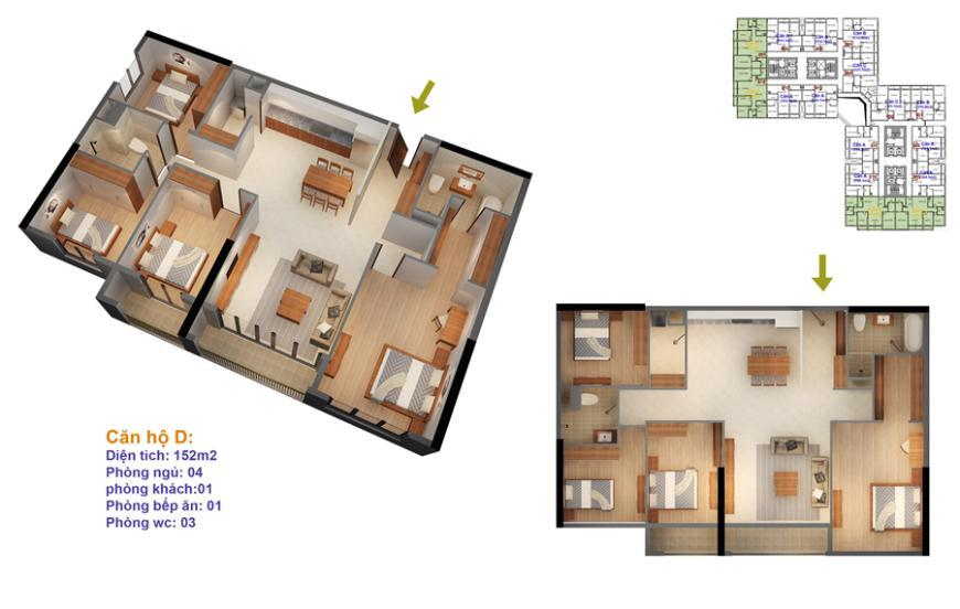 Mặt bằng căn hộ số 03-04-13-14 Ruby 4