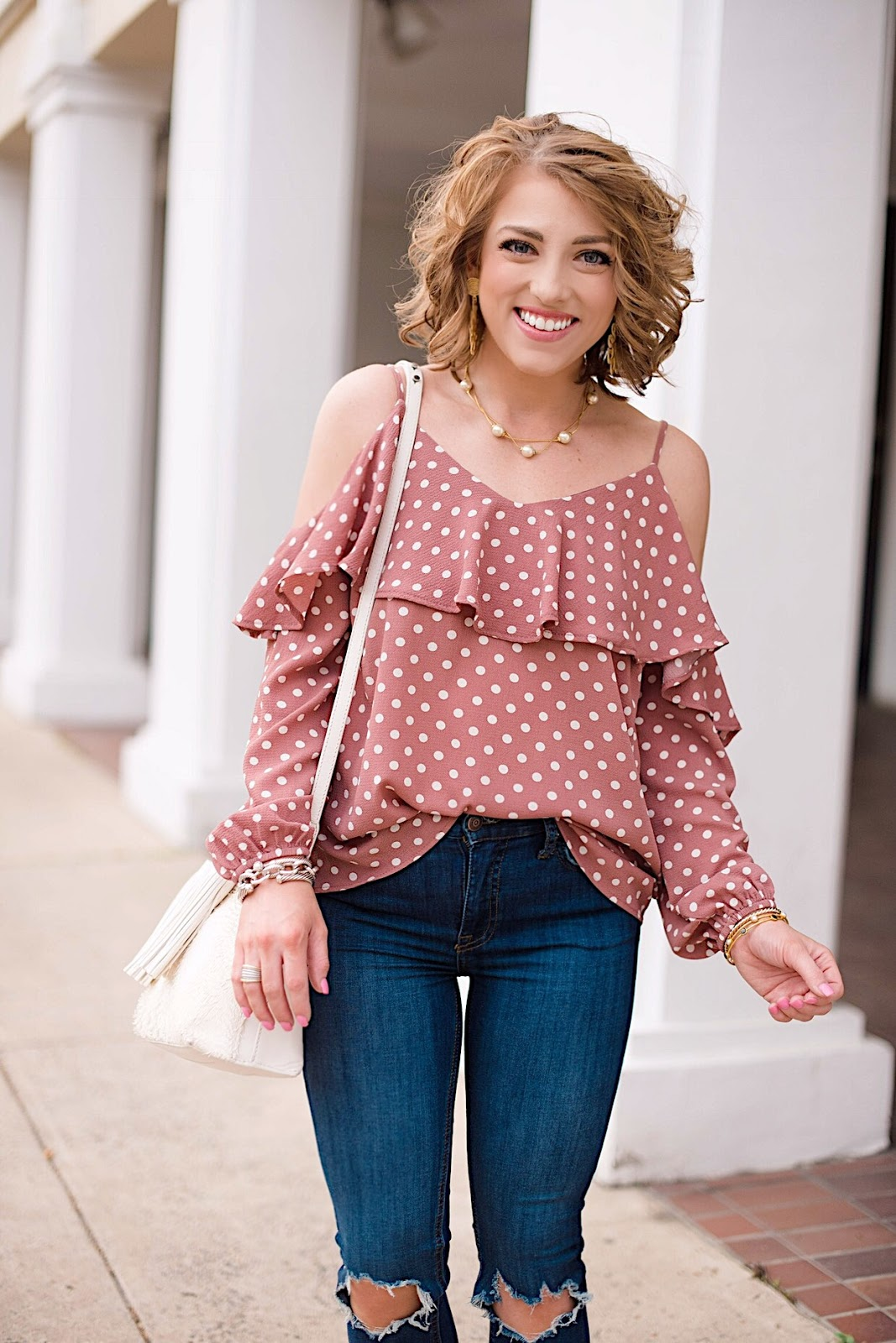 Under $50 Cold Shoulder Polka Dot Top - Click through to see more on Something Delightful Blog