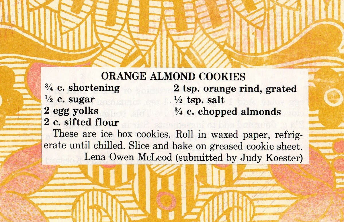 Orange Almond Cookies (quick recipe)