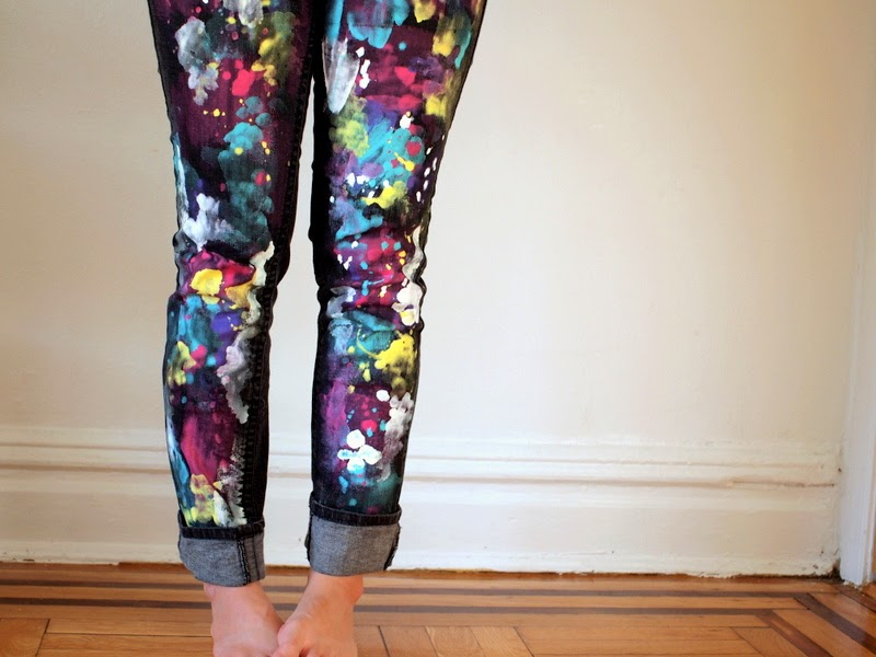DIY splatter painted pants