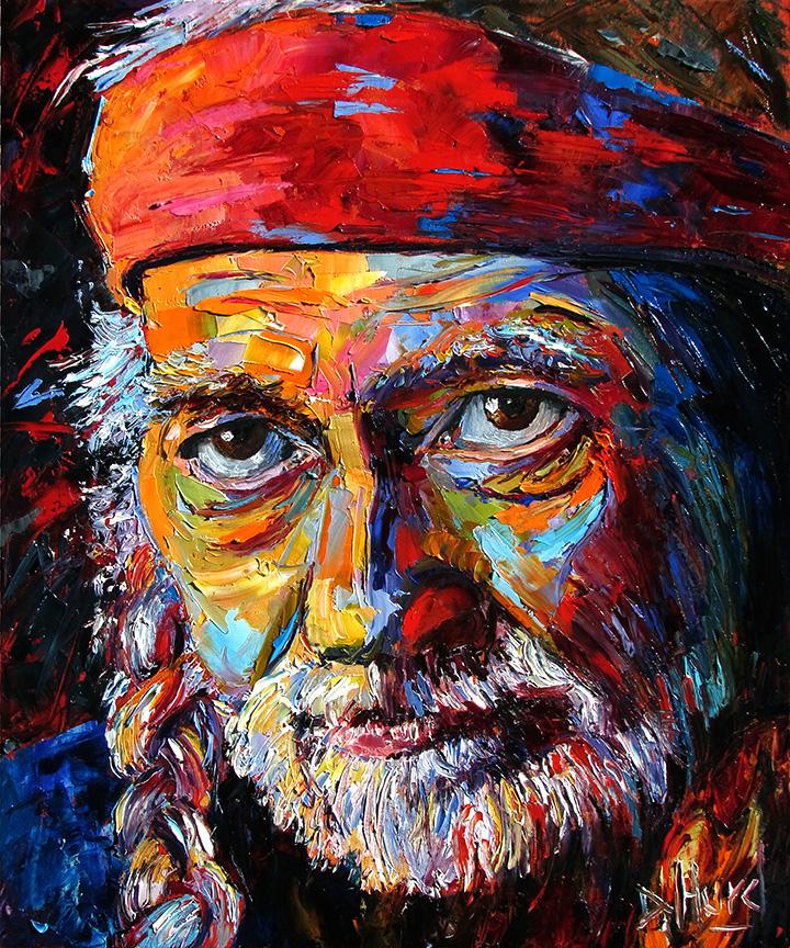 Oil Painting Portrait Art Of Willie Nelson By Debra Hurd