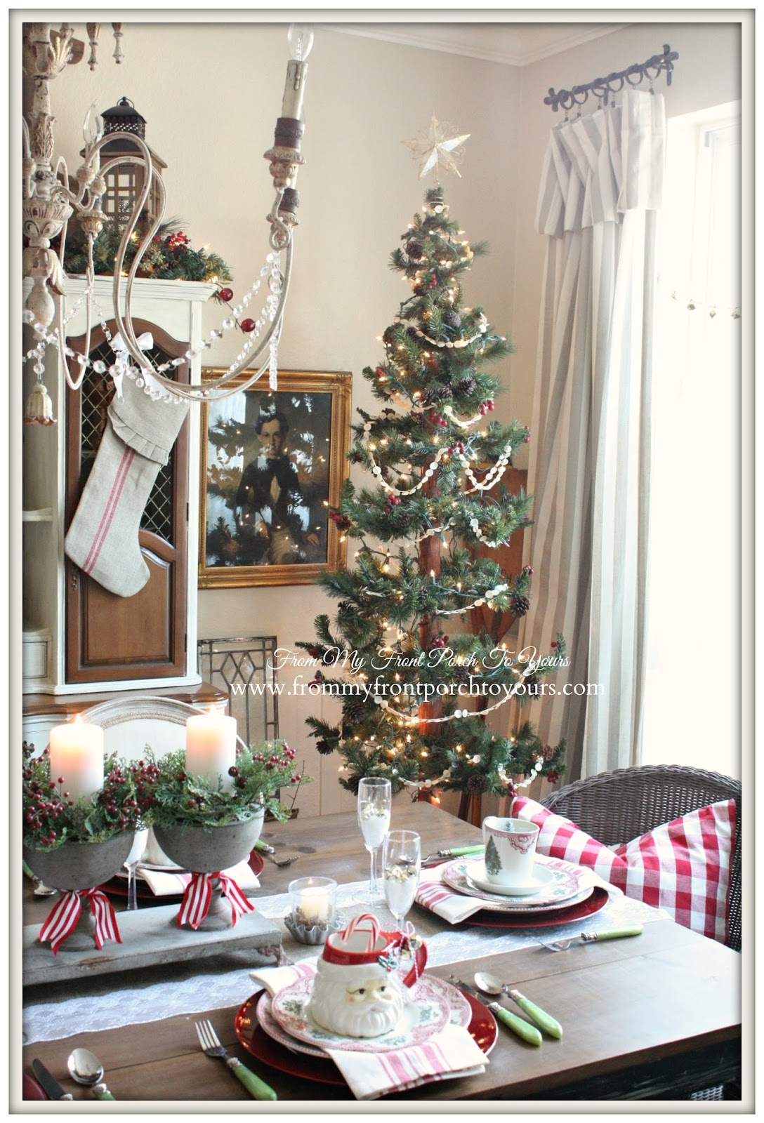 Slim Christmas Tree-French Farmhouse Vintage Christmas Dining Room- From My Front Porch To Yours