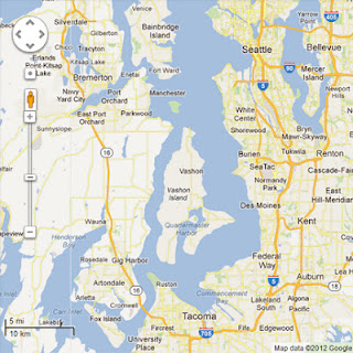 Google map from Tacoma to Washington