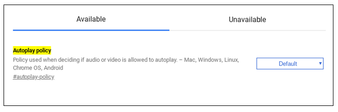 Disabilitare autoplay Chrome