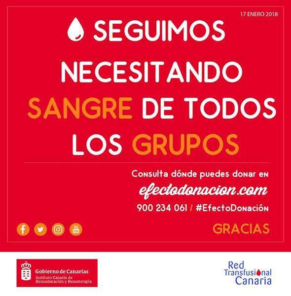 Se necesita sangre de todos los grupos en Canarias