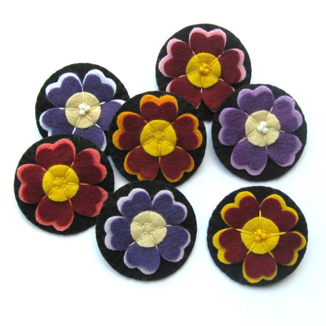 Felt auricula flower brooches