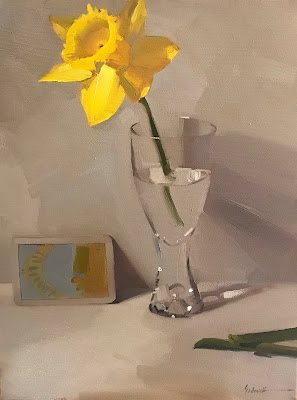 """Hope"" floral daffodil tarot art oil painting still life by sarah sedwick 9x12 inches"