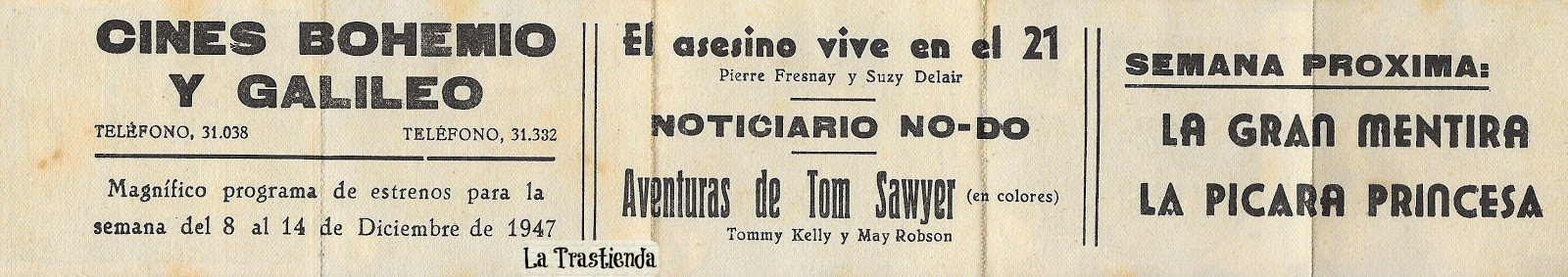 Programa de Cine - Aventuras de Tom Sawyer - Tommy Kelly - May Robson - Walter Brennan