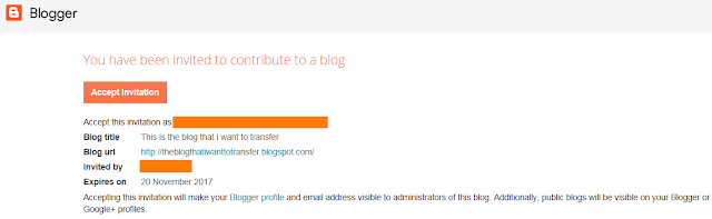 Accept Invitation to complete the process of adding contributor to the blog