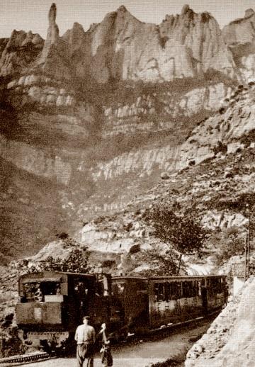 Antiguo tren cremallera que subía al Santuario de Montserrat