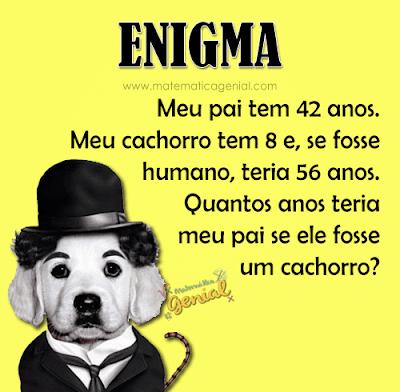 Enigma: Meu pai tem 42 anos. Meu cachorro tem 8 e, se fosse humano...