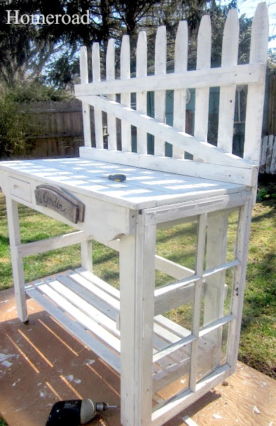 potting bench painted white