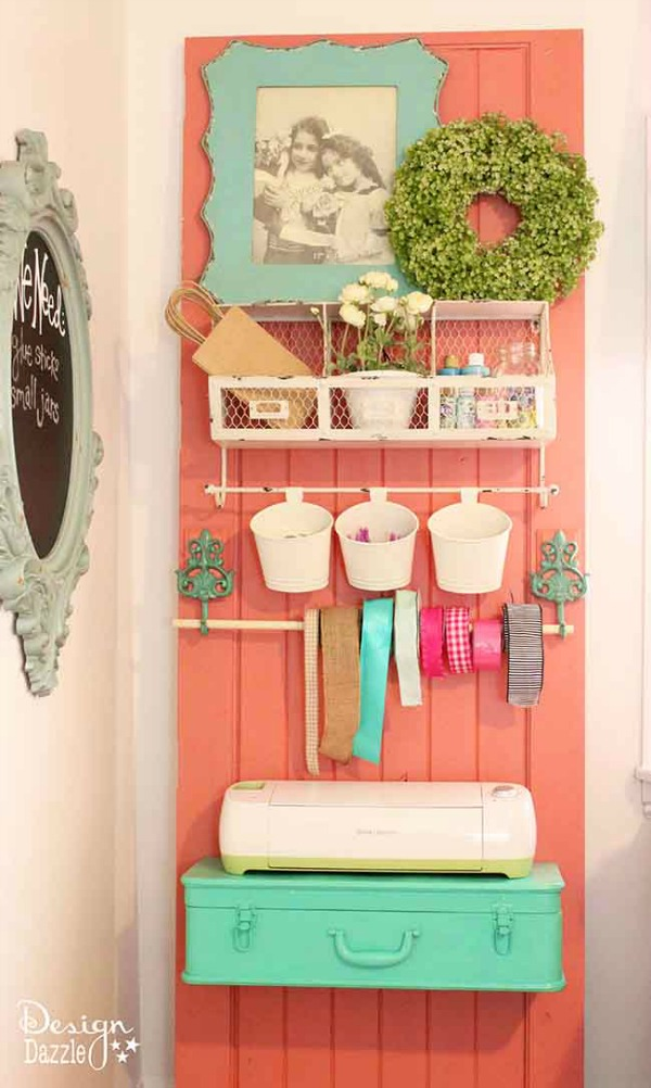 use doors to organize craft supplies