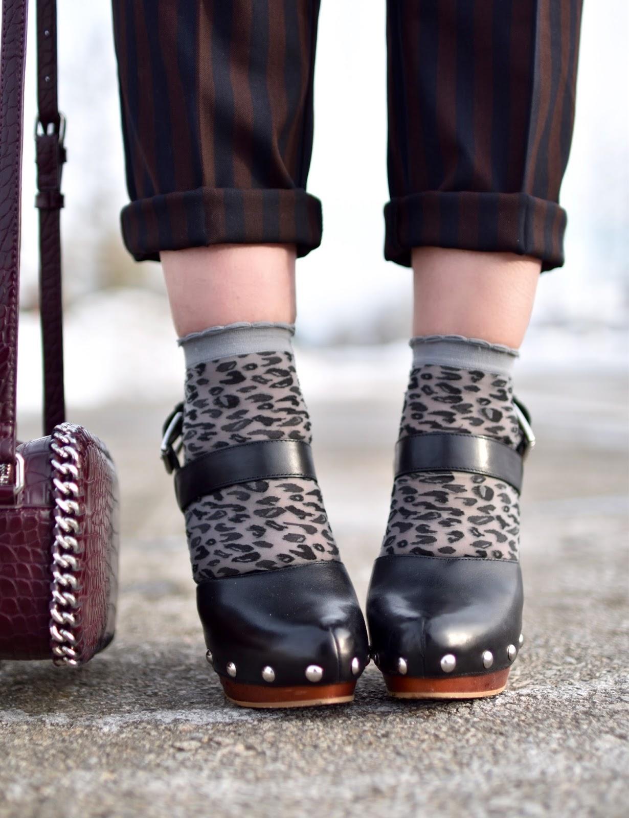 Monika Faulkner outfit inspiration - leopard ankle socks, Vince Camuto platform heels