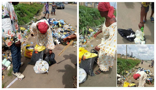 Woman Caught Picking Used Sanitary Pads From Refuse Dump