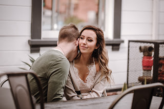Newly engaged couples lifestyle portrait session at a local coffee shop called Better Buzz Coffee in San Diego, CA by Morning Owl Fine Art Photography.