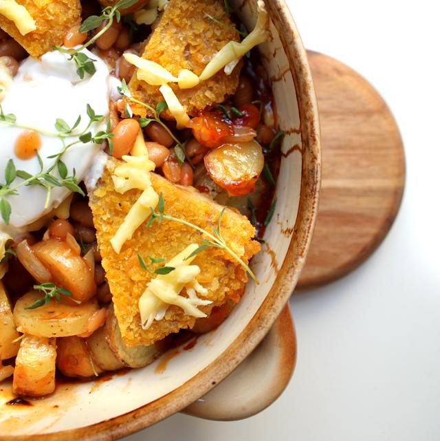 Oppskrift Vivera Vegansnitzel Rask Kjøttfri Middag Snitzel Ovnsbakt Potet Tomatbønner