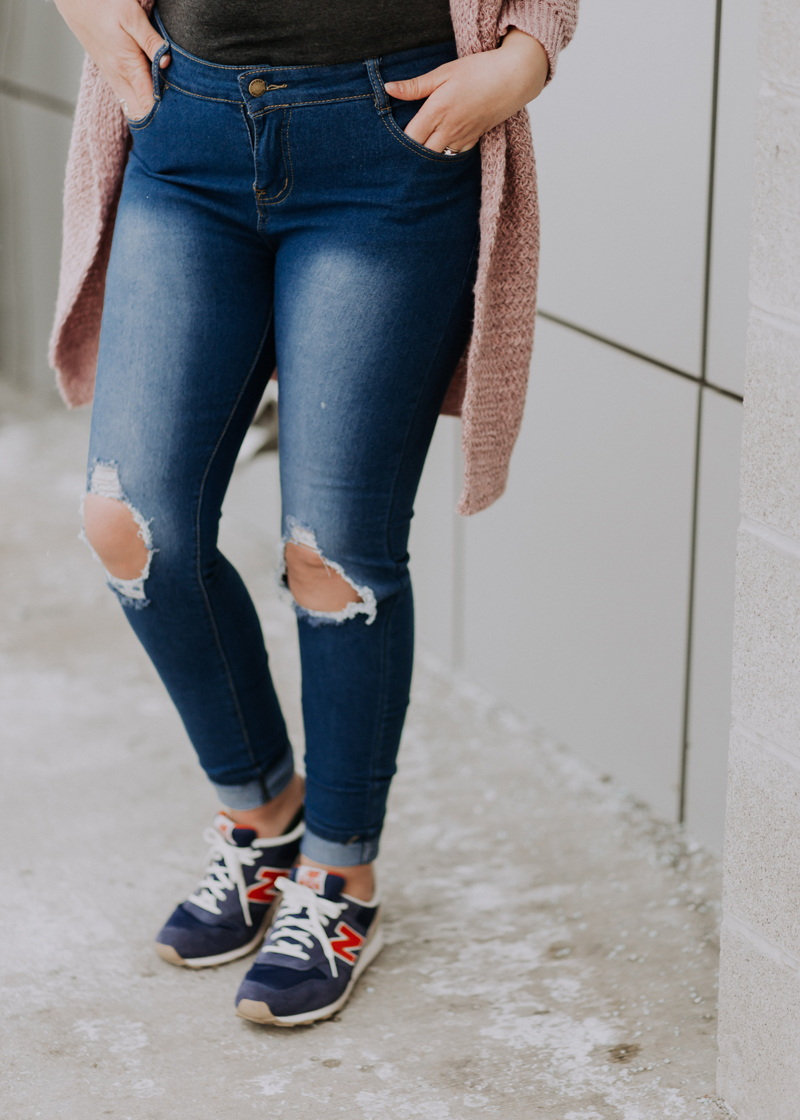 distressed denim, ripped jeans, casual outfit